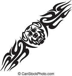 Dog and symmetric tribals - vector illustration - Predatory...