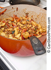 Homestyle Pasta Dinner Preparation - An image of a homestyle...
