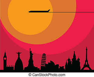 plane flying over main world cities at sunset , illustration