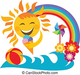 summer vacation; happy sun holding ice cream, illustration