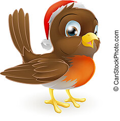 Robin bird in a Santa Hat - An illustration of a cartoon...