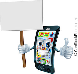 Announcement board sign mobile phon - Mobile phone mascot...