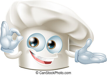 Bakers hat mascot man - A happy cartoon bakers hat mascot...