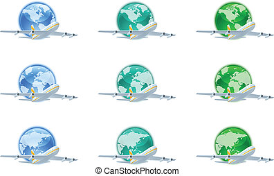 Earth globes with planes - The collection of different earth...