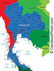 Thailand map - Highly detailed vector map with...