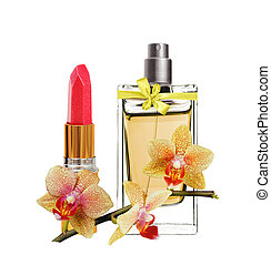womens perfume in beautiful bottle, red lipstick and yellow...