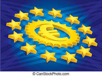 Euro sign with stars, financial concept