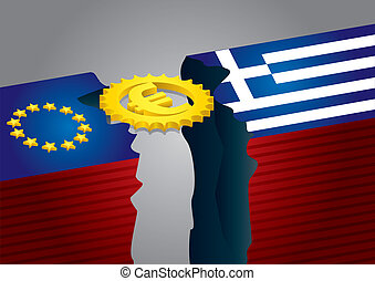 Euro sign with stars, and Greek flag - financial concept
