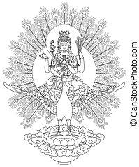 Mahamayuri Buddhist Deity - Mahamayuri
