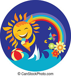 happy sun holding ice cream on blue , illustration