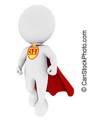 3d white people superhero with a red cape, isolated white...