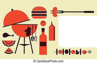 bbq party invitation template, vector illustration