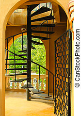 Vintage style of spiral stairs in the building