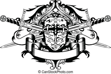 crossed swords and helmet - Vector illustration crossed...