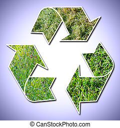recycle sign grass vignetted - conceptual recycling sign...