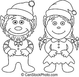 Gnomes, boy and girl, outline - Cartoon, garden gnomes, boy...