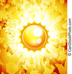 Sunshine vector abstract background - Vector orange sky...