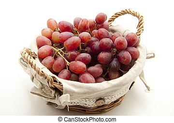 cesta, uvas, vino