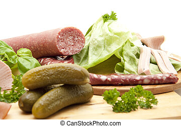 Garlic sausage with cucumbers - Garlic sausage with blood...