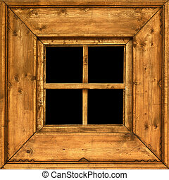Old wooden rural window frame
