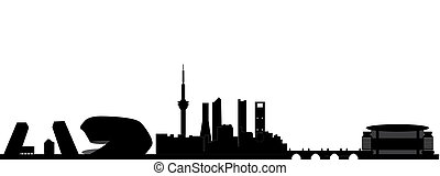 madrid skyline spain in black