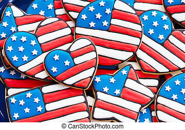 Patriotic cookies - Cookies decorated for Independence Day,...