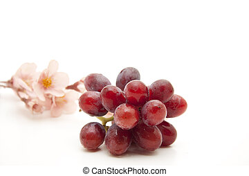 Wine grapes with flower - Wine grapes with flower on white...