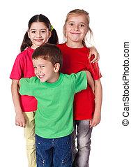 stehende, Kinder, zusammen, glücklich