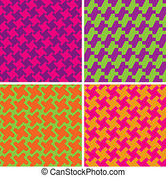 Colorful Houndstooth Patterns - Vector collection of four...