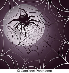 Moonlit Spider and Web background design. AI 10 .eps...