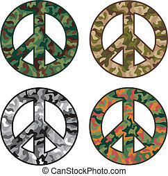 Peace Camos - Collection of peace symbols with camouflage...