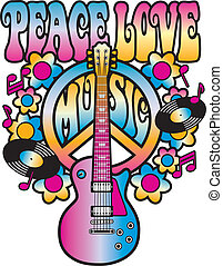 Peace Love Music - Retro-style illustration of a guitar,...