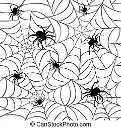 Spiders on Webs_White - Seamless pattern of spiders on webs