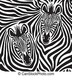 Zebra Couple - Seamless pattern of a pair of zebras