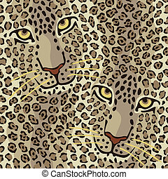 Wild Cat Couple - Vector illustration of spotted wild cats...