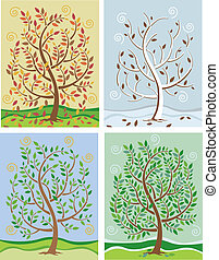 Tree In Four Seasons - Illustration of a tree changing color...