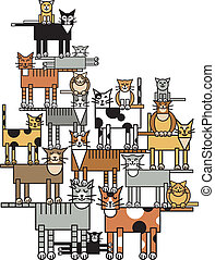 Cat Family - Vector illustration of a cat family tree,...