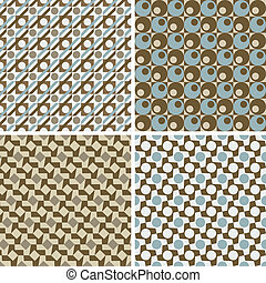 Retro Geometric Patterns - Collection of four vector...