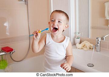 男孩, 浴室, 清掃, 牙齒