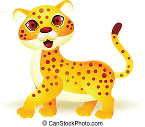 Funny cheetah cartoon - Vector Illustration Of Funny cheetah...