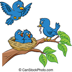 Bird family  - Vector Illustration Of Bird family