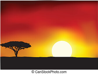 Africa landscape background - Vector Illustration Of Africa...