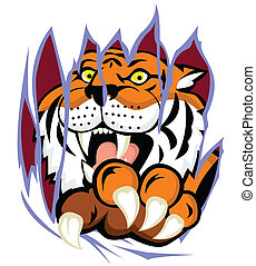 Tiger with claw tearing the backgro - Vector Illustration Of...