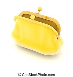 open yellow purse on a white background