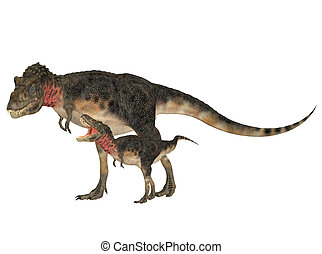 Adult and Young Tarbosaurus - Illustration of an adult and a...