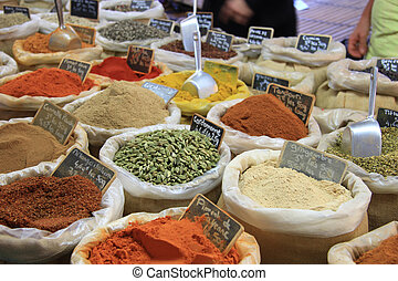 Herbs and spices on a french market - Herbes and spices in...