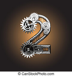 Vector metal figure with gearwheels - metal figure with...