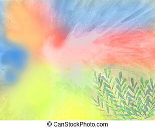 colorful watercolor background with yellow, red, blue and...