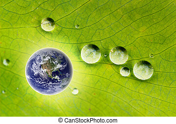 Nature conservation- glowing earth and water drops - Concept...