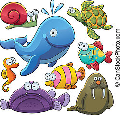 Sea Animals Collection - cartoon illustration of various sea...